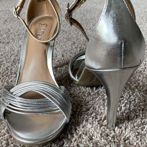 Silver Stiletto heels with ankle strap